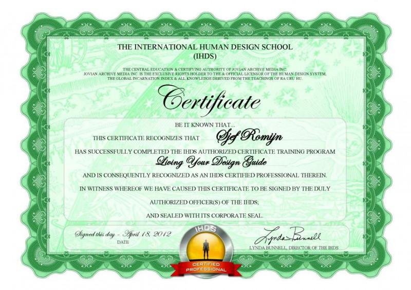 Sjef Romijn LYDG Certificate
